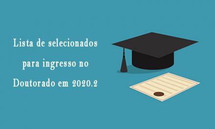 Selecionados para o doutorado 2020.2