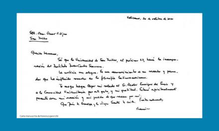 Papa cumprimenta Universidade de San Isidro (USI) pela criação do Instituto Scannone.